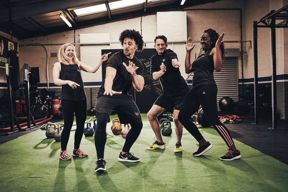 The BFast Fitness team getting their groove on at their gym in the Jewellery Quarter.
