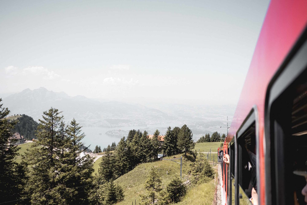On the Rigi Kulm train!