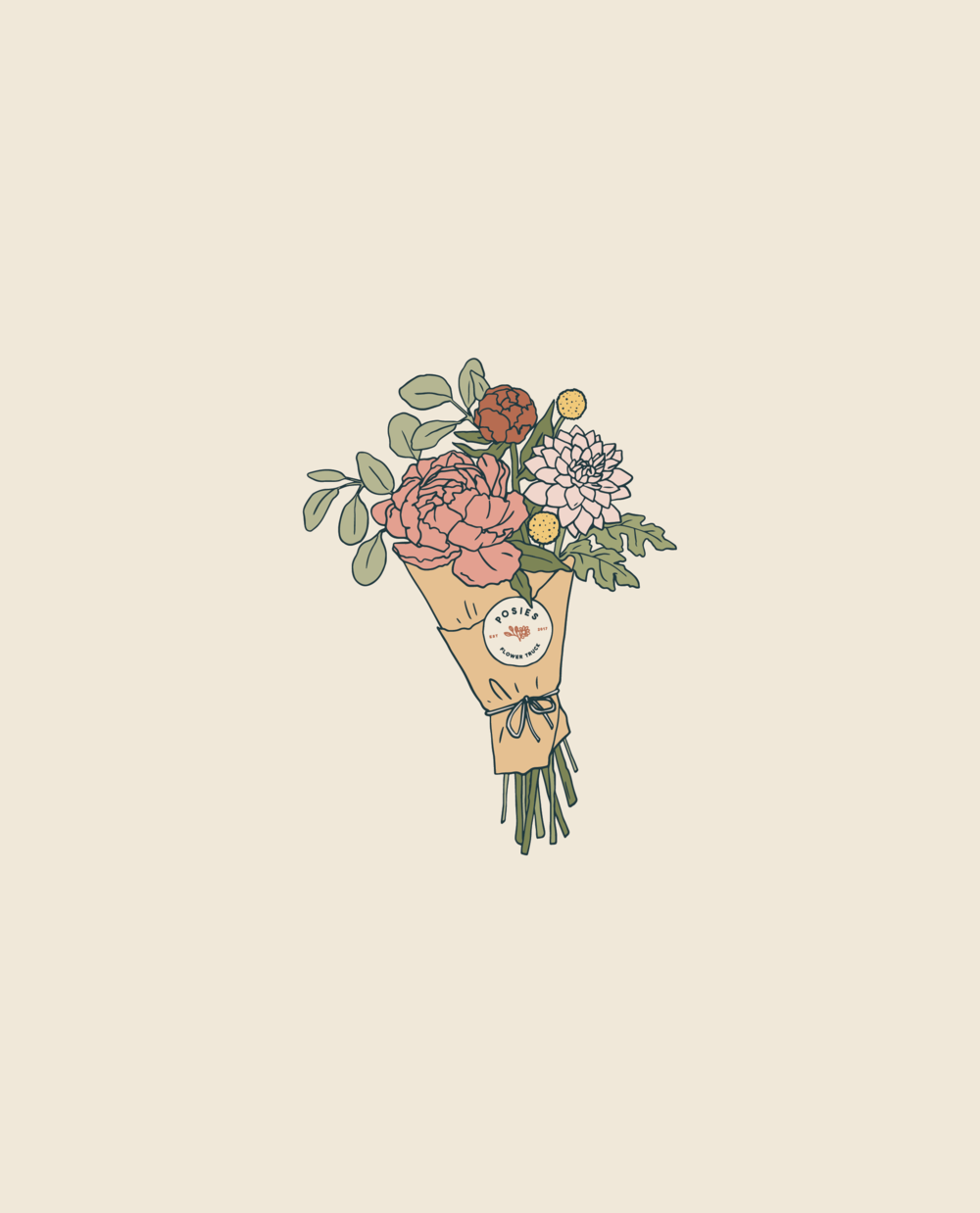 Posies Flower Truck | Enamel Pin Design
