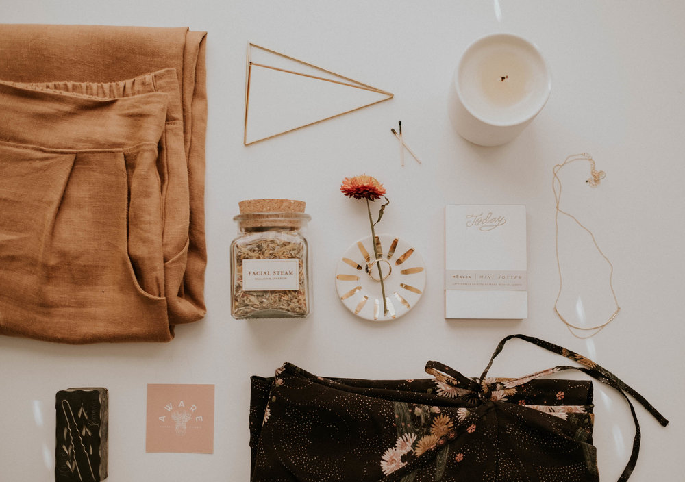 Featured:  Ceramic Candle (Tobacco + Bay Leaf) ,  Prism Tabletop Hemmeli ,  Chain Verge Necklace ,  White + Gold Sunburst Ring Dish ,  Facial Steam ,  Today Notepad ,  Valentina Pant (Tan) ,  Tallulah Dress
