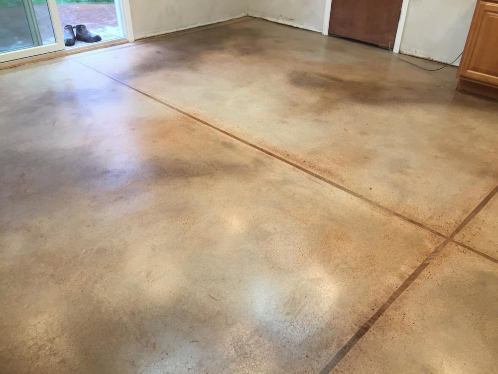 Moulted Stain for a residential basement remodel was polished after staining.