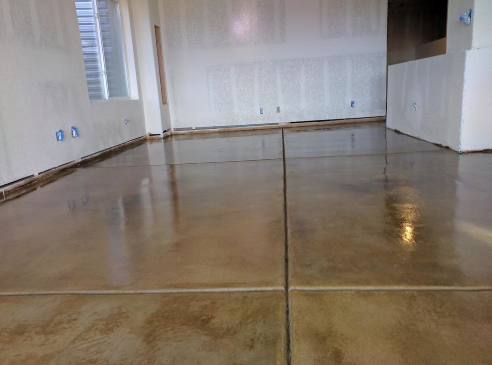 Stained Basement Floor & Glossy Clear Coat.