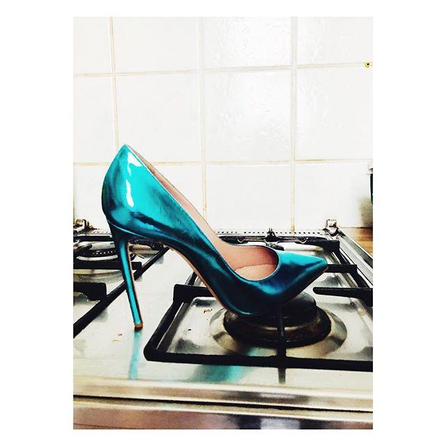 Hot heels.... #hotheels #iceblue #metallic #shine #shoes #fashion #randomness #photography #bts #cooking #kitchen #home #blue #shinebright