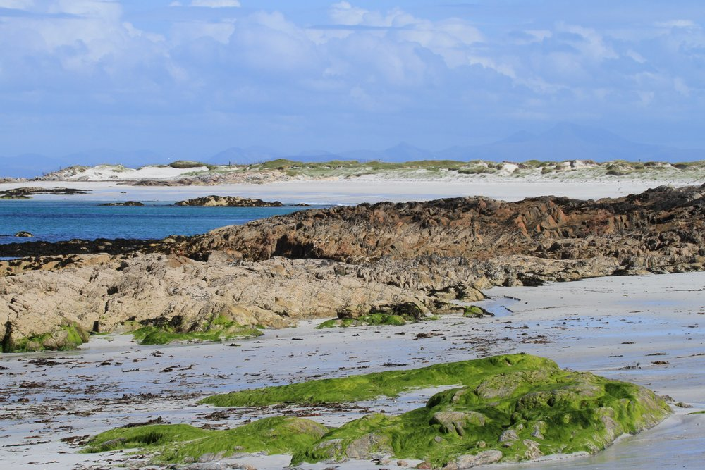 Traigh Caolas, with Ben More of Mull in the distance.