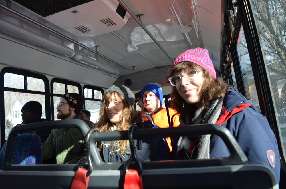Center for Cartoon Studies students on their way from White River Junction to Hanover during their travel training session last winter. Photo: Bethany Fleishman