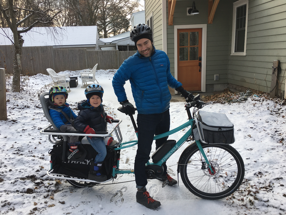 After borrowing an electric-assist cargo bike from Local Motion's lending library, Brendan Hogan opted to purchase his own for his daily commute with his family.  Photo: Local Motion