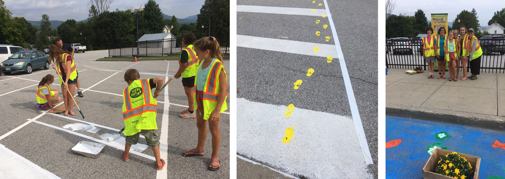 Students from Christ the King School in Rutland redesign a street for safer bicycle and pedestrian access.  Photo: Local Motion
