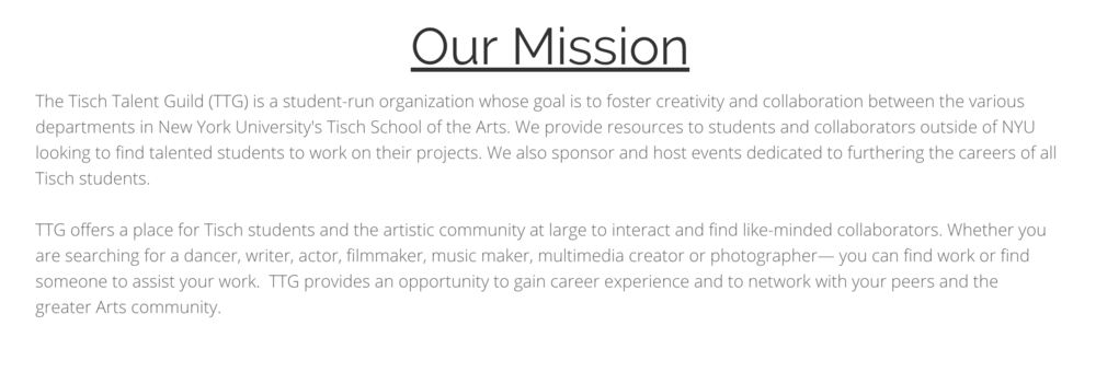 Q2from the Tisch Talent Guild Official website