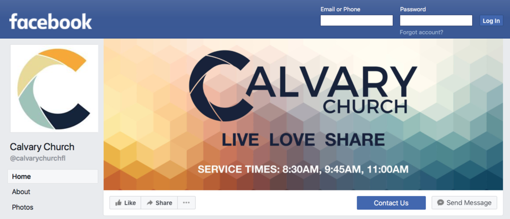 Facebook - Our Facebook page helps to connect believers with each other. From event participation to social involvement, it serves as a great place to learn more about how things are happening at Calvary. Our Live Services are available as well.