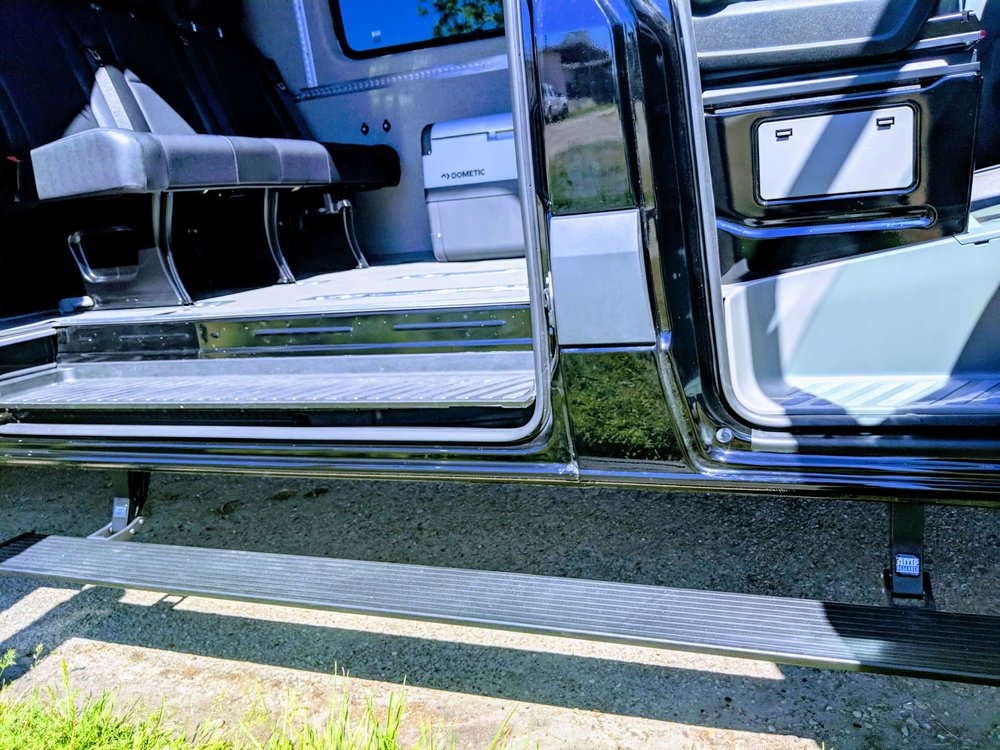 Amp PowerStep installed along slider and passenger doors (retracts when doors are closed)