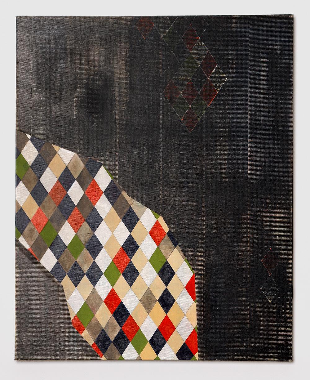 Adia Wahid  Diamonds on a Stroll , 2015 Oil on Canvas 77cm x 61cm