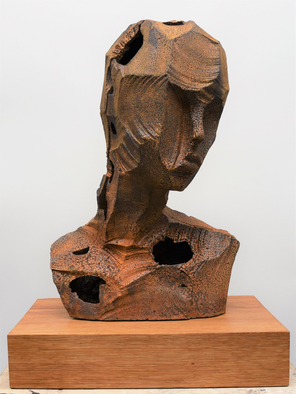 Rory Menage   Girl with Leaning Head , 2017  Cast iron, oak  42cm x 30cm x 20cm  Unique