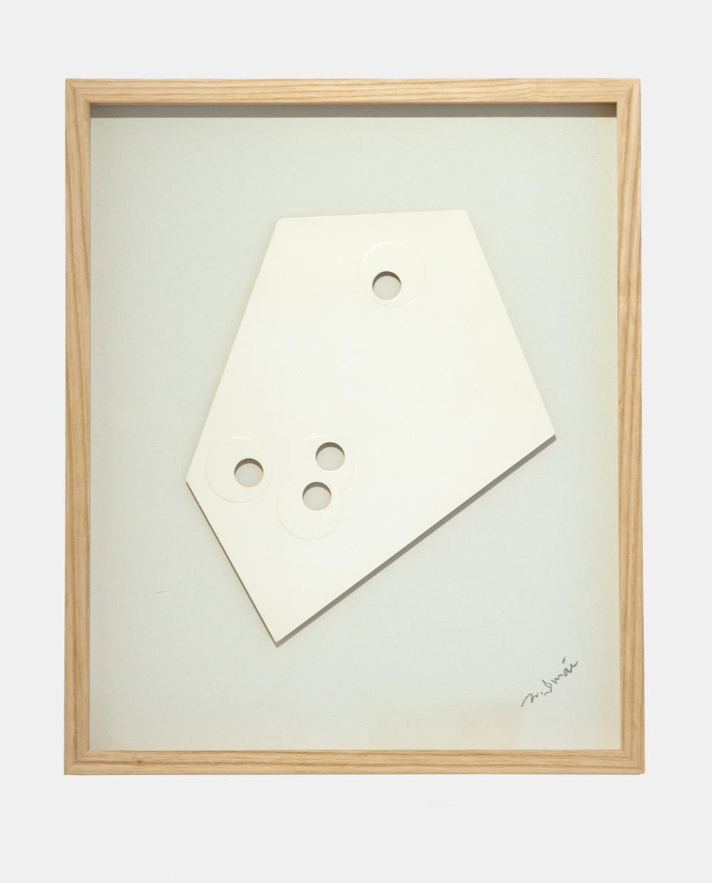 Norio Imai   White piece-A,  1966  emboss, punching, paper  44cm × 36.5cm × 3.3cm (frame)