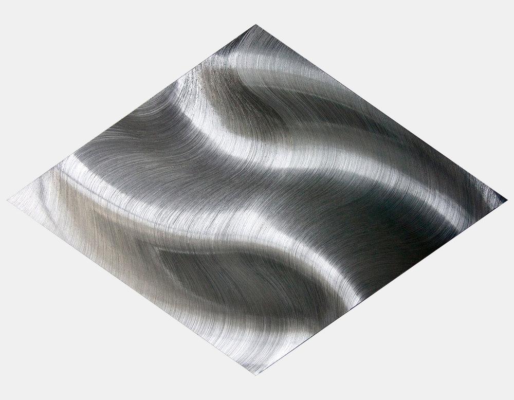 Ben Gooding  '1466', 2016  Hand scored aluminium  100 x 70 cm