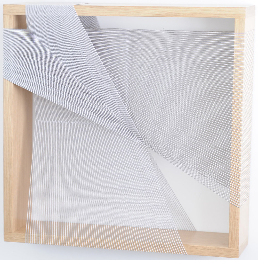 Maryrose Watson  'Feather Series 2' 2012  Cotton and viscose on European oak  50 x 50 x 12cm