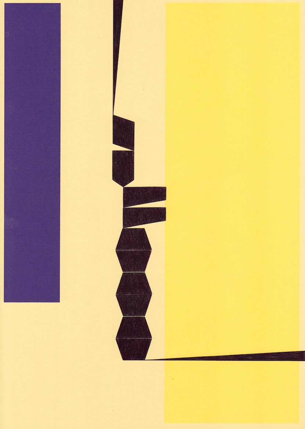 Richard Caldicott  'Untitled', 2016  Ballpoint pen and inkjet on paper  29.7 x 21 cm