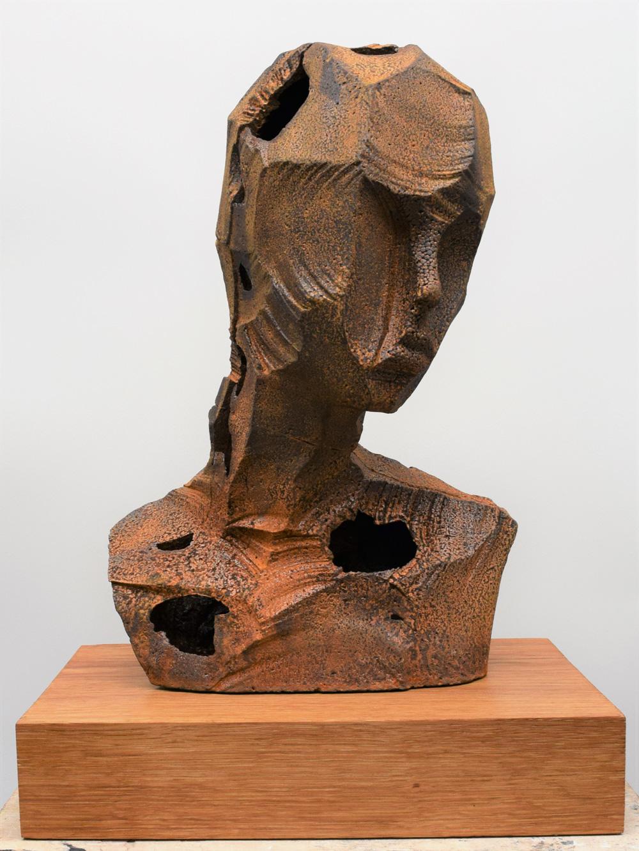 Rory Menage   Girl with Leaning Head , 2017  Cast iron, oak  42cm x 30cm x 20cm  Unique