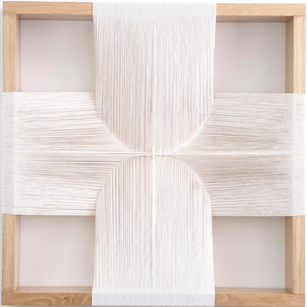 Maryrose Watson  'Feather Series 1', 2012  Cotton and viscose on European oak  50 x 50 x 12cm