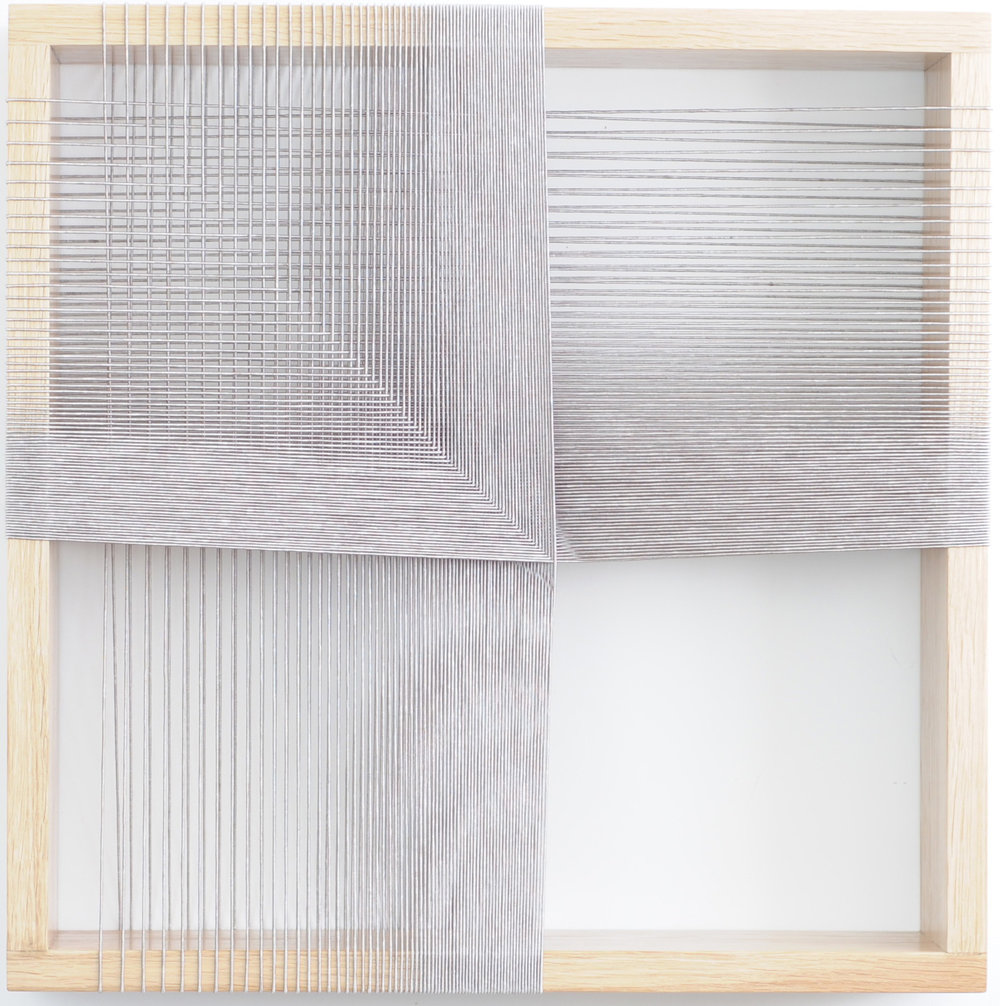 Maryrose Watson  'Feather Series 3' 2012  Cotton and viscose on European oak  50 x 50 x 12cm