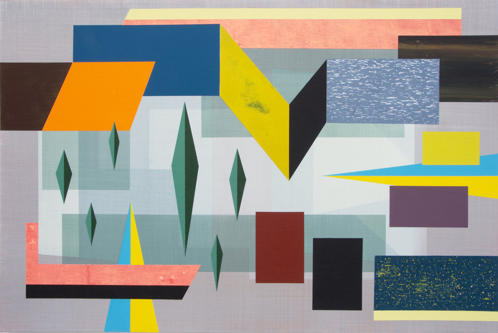 Andre Stitt  The Integral Principles of the Structural Dynamics of Flow  (Roadside Picnic) , 2017   Acylic on Wood Panel 61 x 91 cm