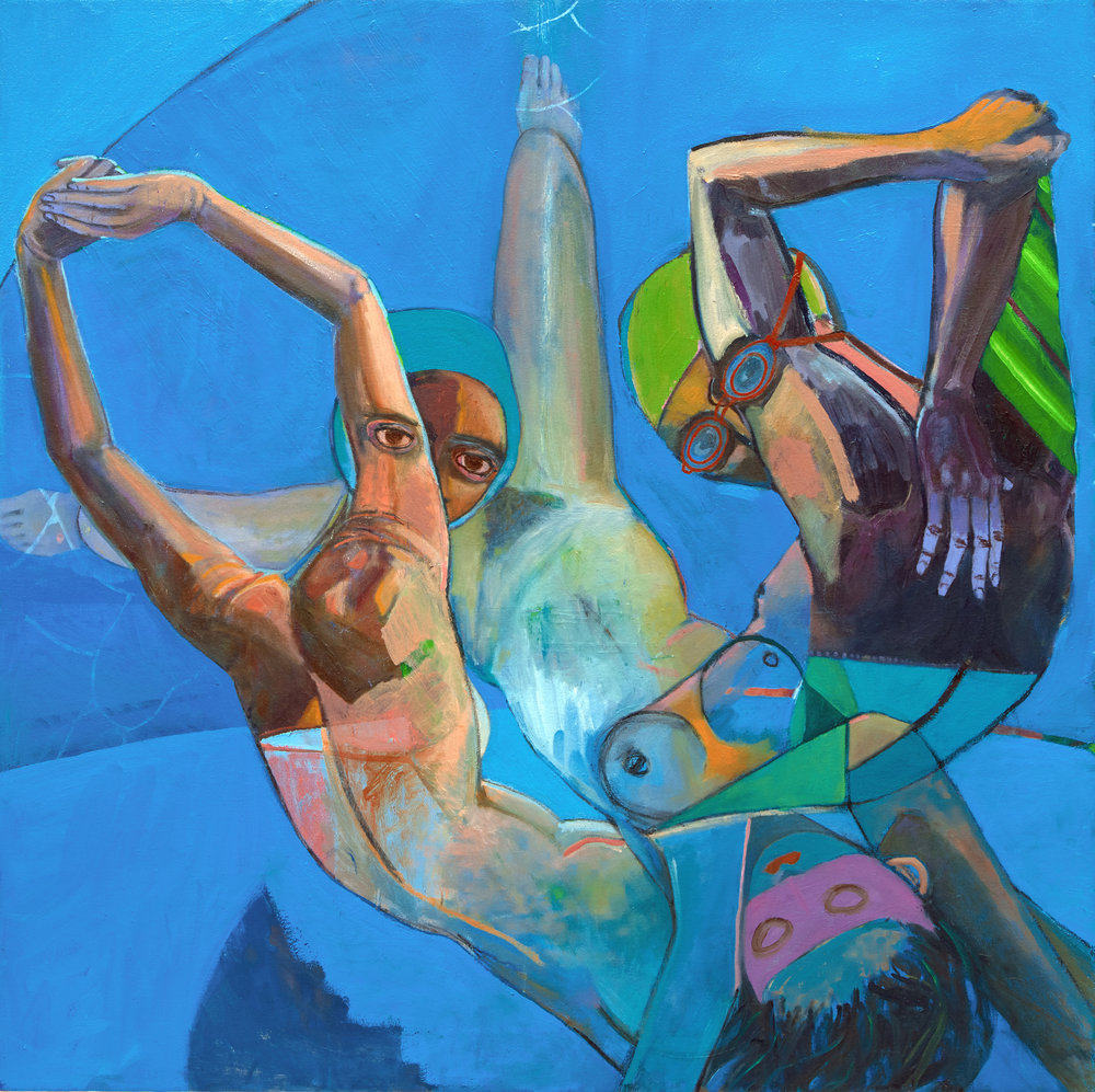 Marty Schnapf  Swimmers Game , 2017  Oil on canvas   91.44 x 91.44 cm
