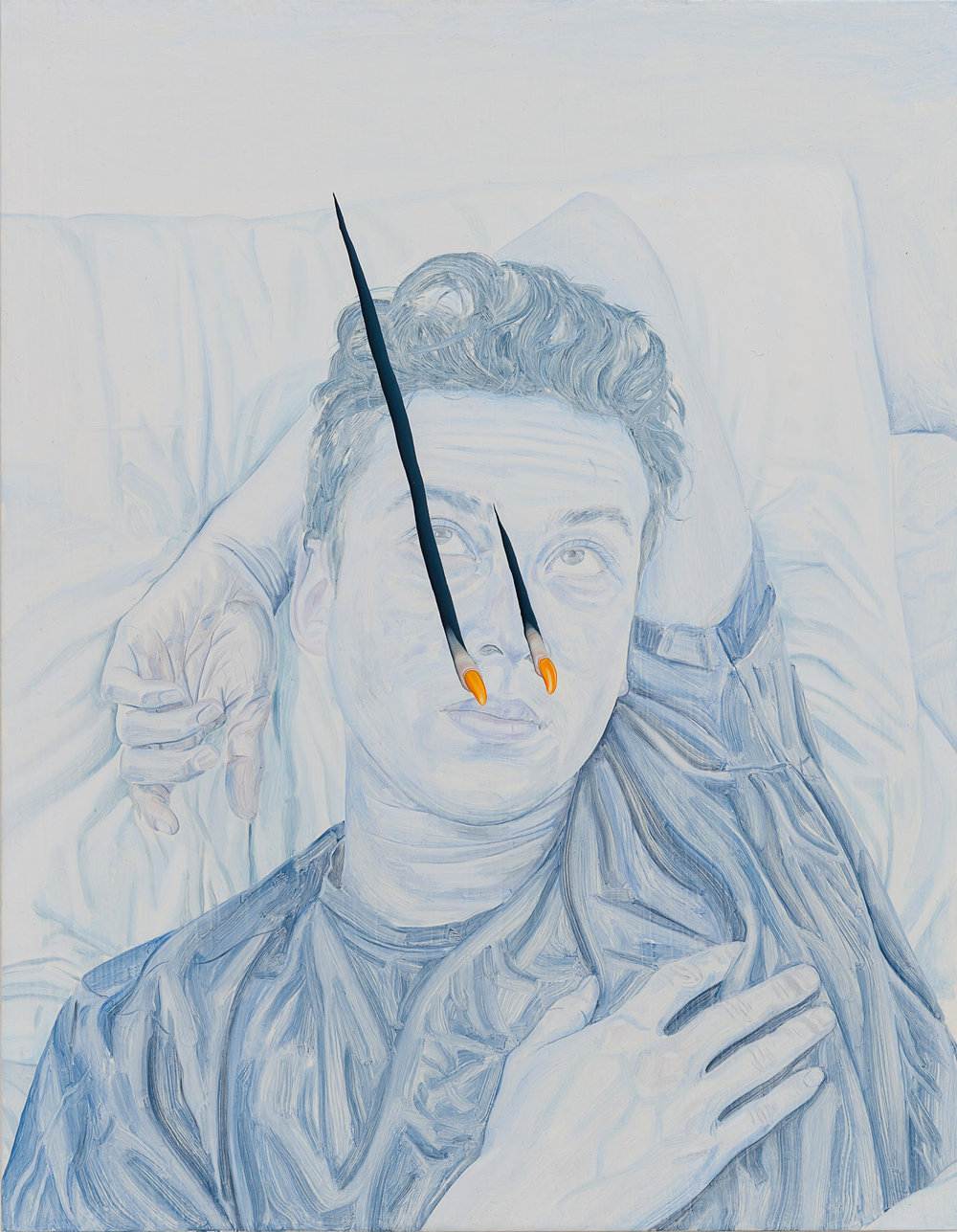 Tristan Pigott   Flimsy Film, Pierced Image - A Portrait Painting of My Friend Alex as a Retinal Stain Being Pierced by Two Fingers or Claws , 2018  Oil on board  36 x 28 cm
