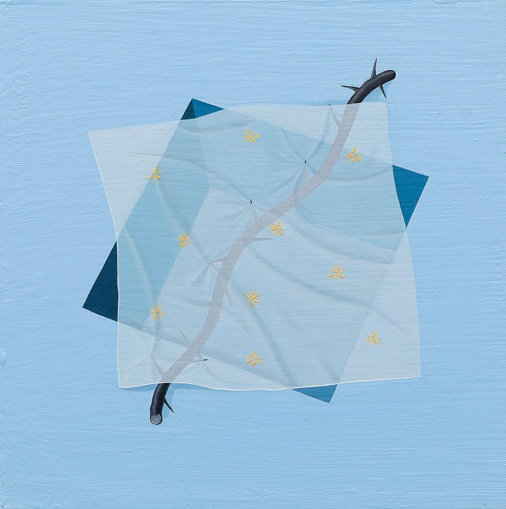 Tristan Pigott  Flies Bump Against the Glass , 2018 Oil on board 19 x 19 cm