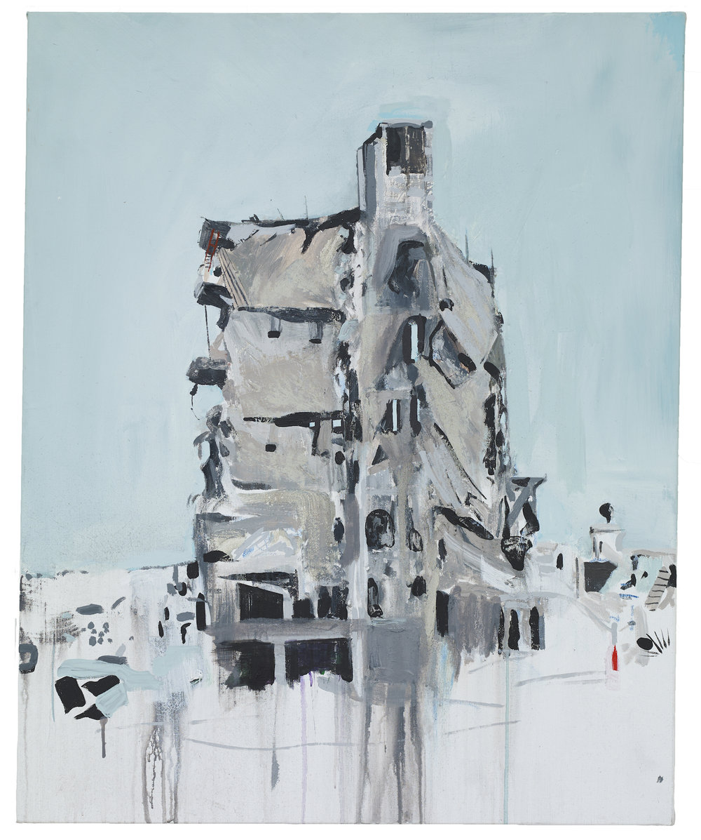Brian Maguire  War Changes Its Address: Aleppo 9 , 2019 Acrylic on linen 100 x 81 cm