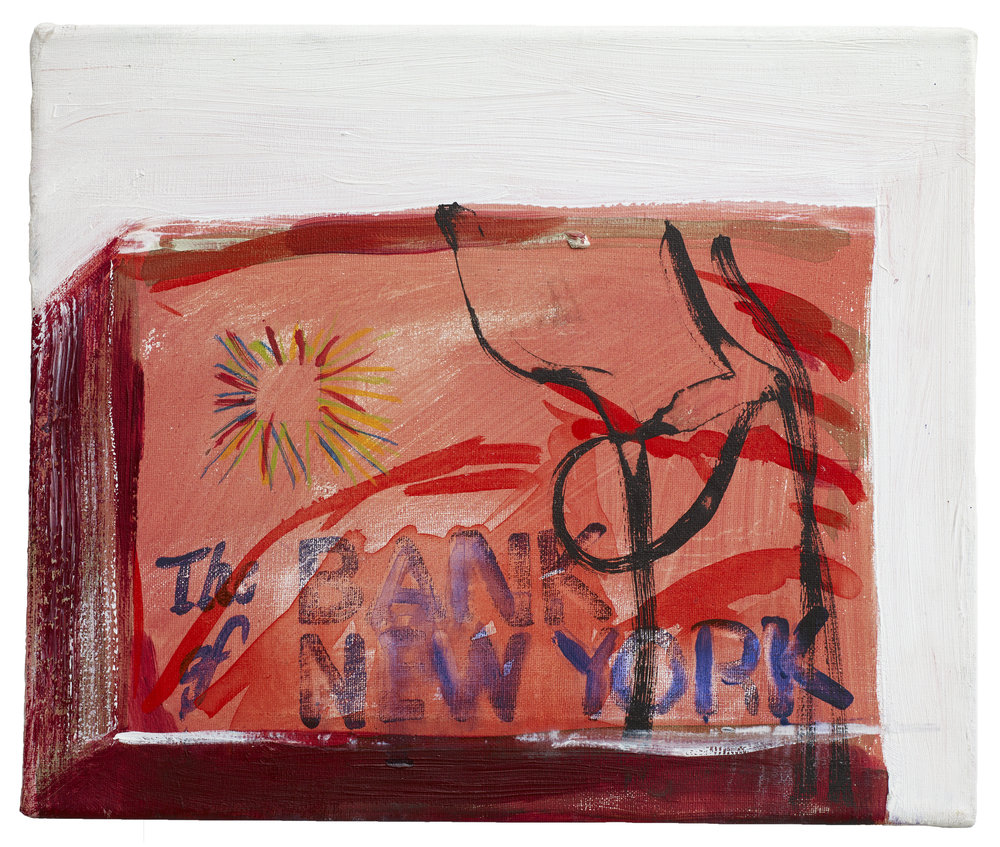 Brian Maguire  Cocaine Laundry Series, The Bank of New York,  2016 Acrylic on canvas 26 x 30 cm