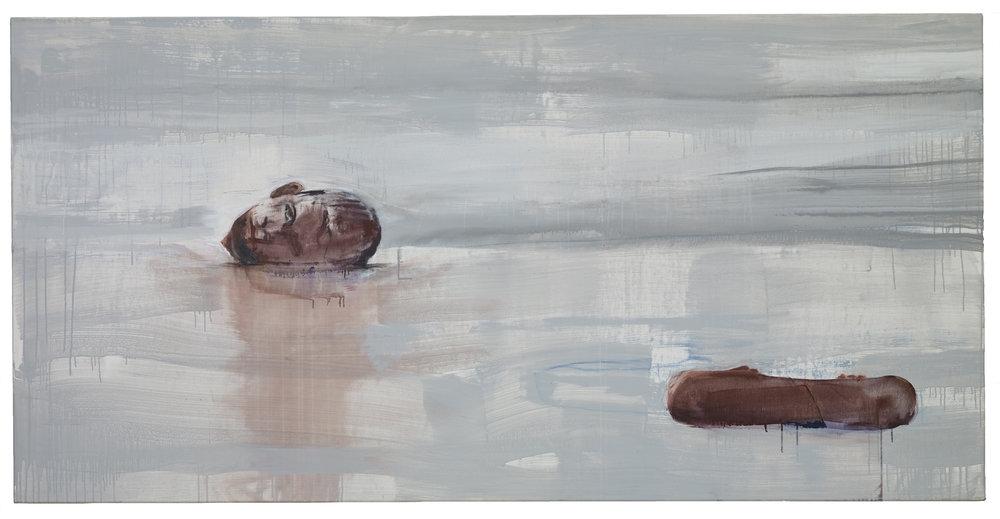 Brian Maguire  Nature Morte (6) , 2014 Acrylic on linen 110 x 220 cm