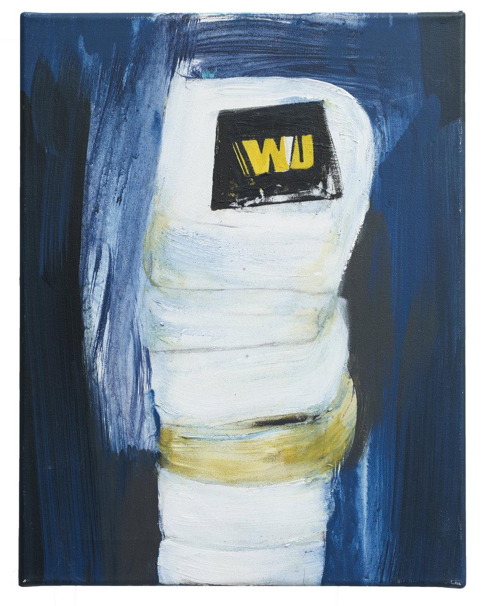 Brian Maguire  Cocaine Laundry Series, WU , 2016 Acrylic on canvas 46 x 35.5 cm