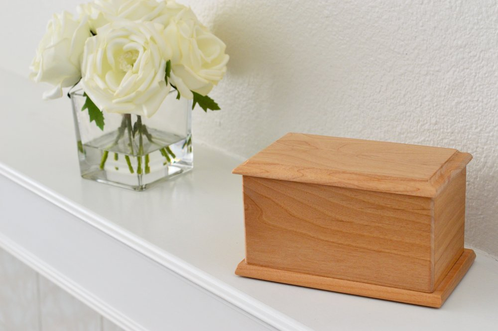 Alder Wood Urn -  Includes engraved metal nameplate