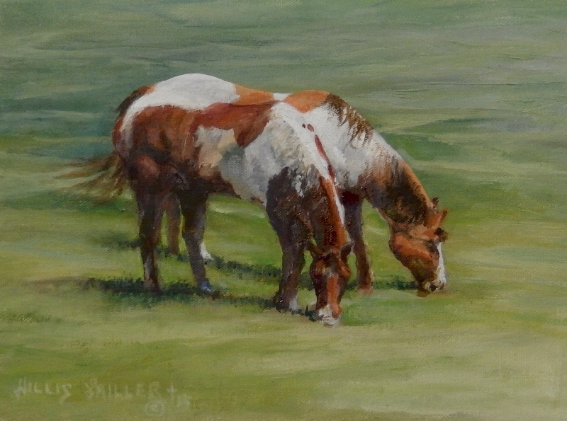 "Good Memories, 9"" x 12"", oil.  I saw these horses when in a plein air event at Flippin, AR.  I started the painting plein air competition and finished it in the studio."