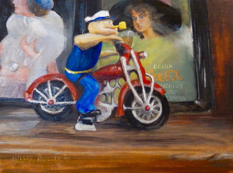"""Eat More Spinach, 12"""" x 16"""", oil. I saw this in a neat shop in Georgia. Remember the old Popeye cartoons?"""