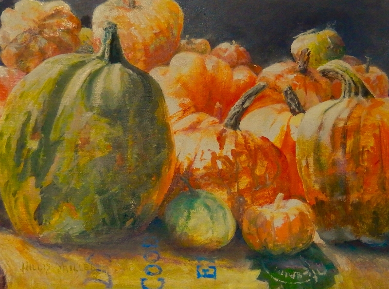 """A Colorful Season, 12"""" x 16"""", oil. I enjoy painting pumpkins with their various shapes and colors. Also they show up during my favorite time of the year, Fall."""