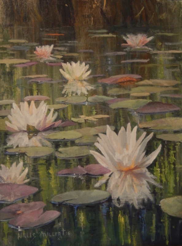 """So Many Blessings, 14"""" x 11"""" oil. This image was seen at the Botanical Gardens of the Ozarks. Reflections at so beautiful."""