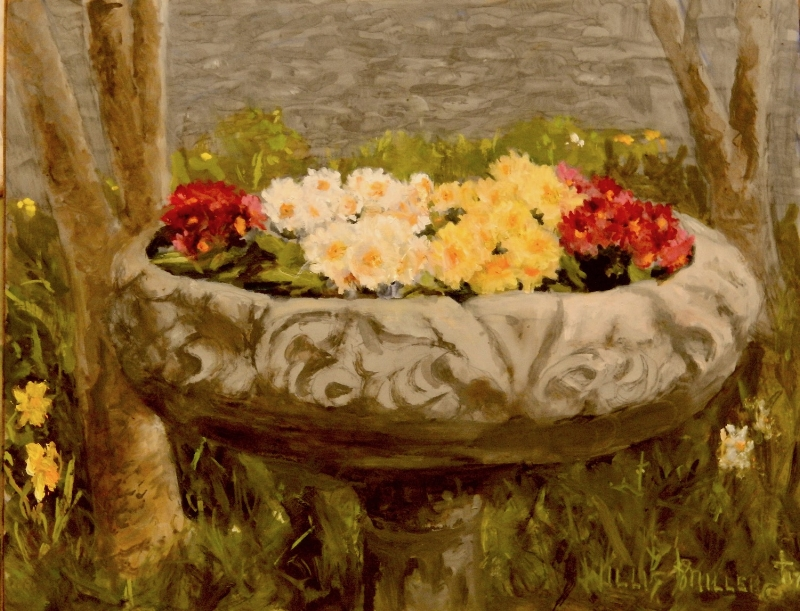 "Joyful, 11"" 14"", oil.  We saw this image I believe in Eyam, England.  A bird bath isn't just for the birds."