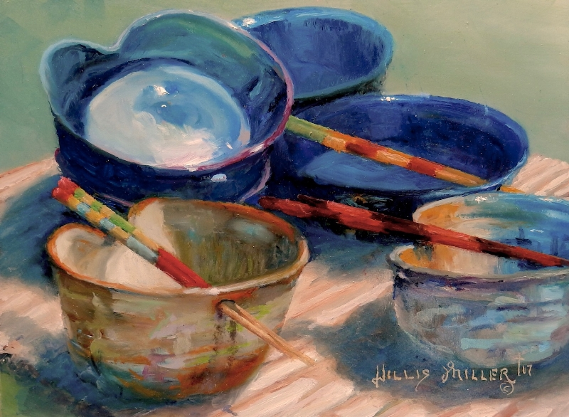 """The Potter's Way, 9"""" x 12"""", oil. I cannot remember where I saw these pots. Fun painting all the colors and shapes. This painting was accepted in the Artists of NW Arkansas Regional competition."""