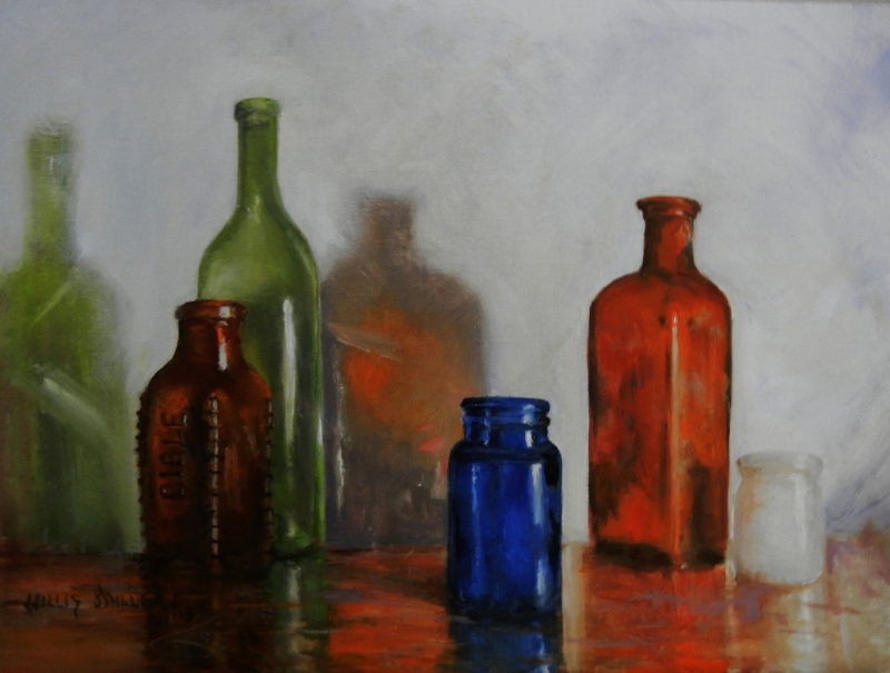 """A Time For Everything, 18"""" x 24"""", oil. I found old bottles in the woods when I worked as a forester. One on the bottles had poison written on it but I changed the word to Bible."""