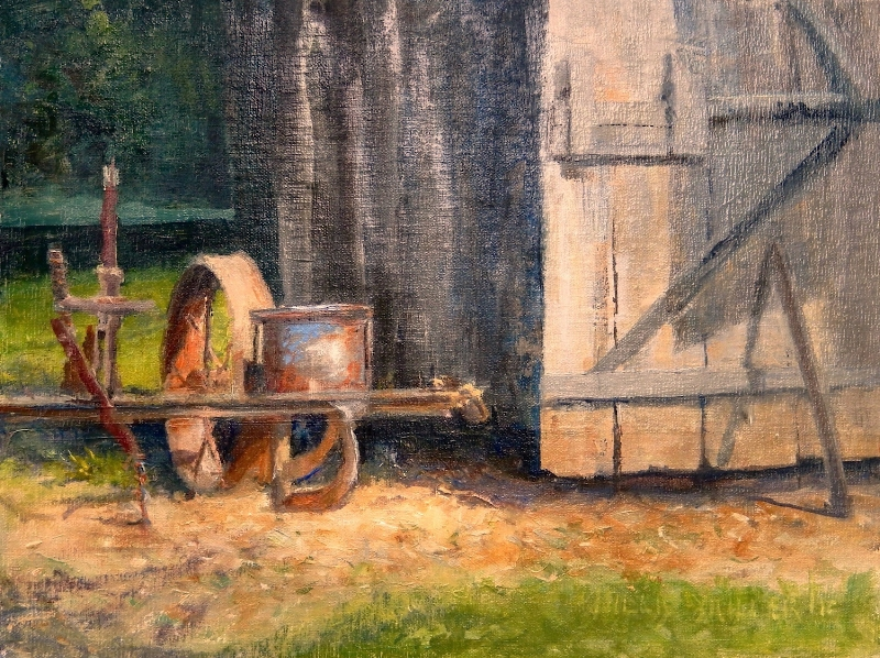 "Served Well, 9"" x 12"", oil.  This painting was started plein air at a museum in Springdale, AR.  Makes me think of such a simpler time."