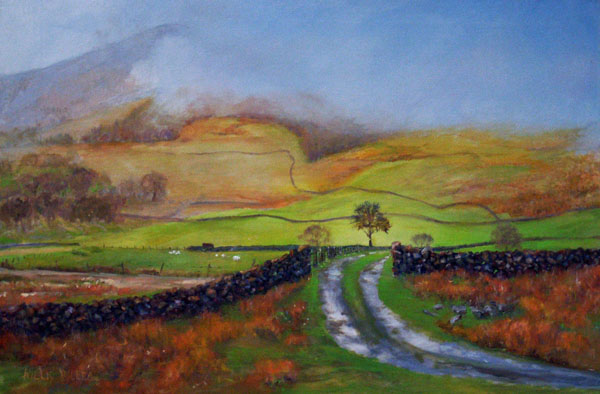 """Light in the Valley, 18"""" x 24"""", oil. This image was seen in the Lake District of England."""