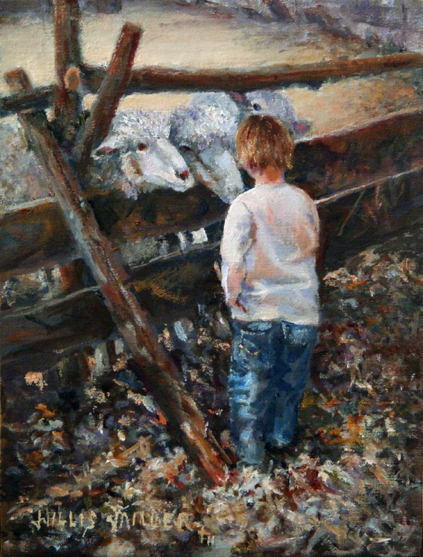 "Little Shepherd Boy, 9"" x 12"", oil"
