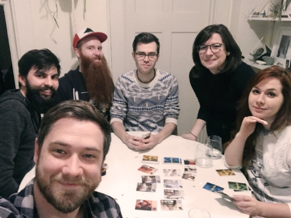 The team celebrating our pre-production kick off with board game night. I have since shaved my beard. Will has not.