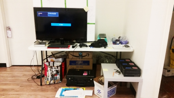 This was our mock GDC setup that was up at our office for a while. We roped a lot of people into playtesting the build with us.