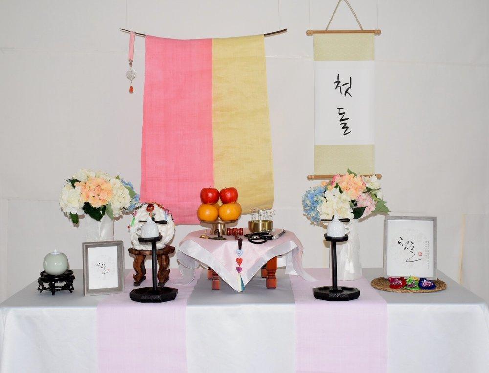 PETIT STYLE TABLE RENTAL: 개나리 첫돌 족자 (Yellow,Pink Board) -