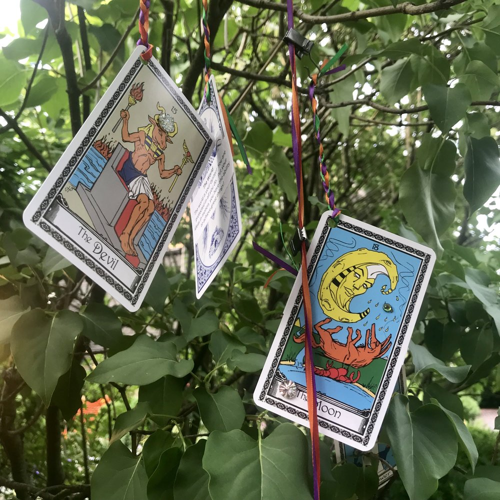 Tarot cards in the trees.