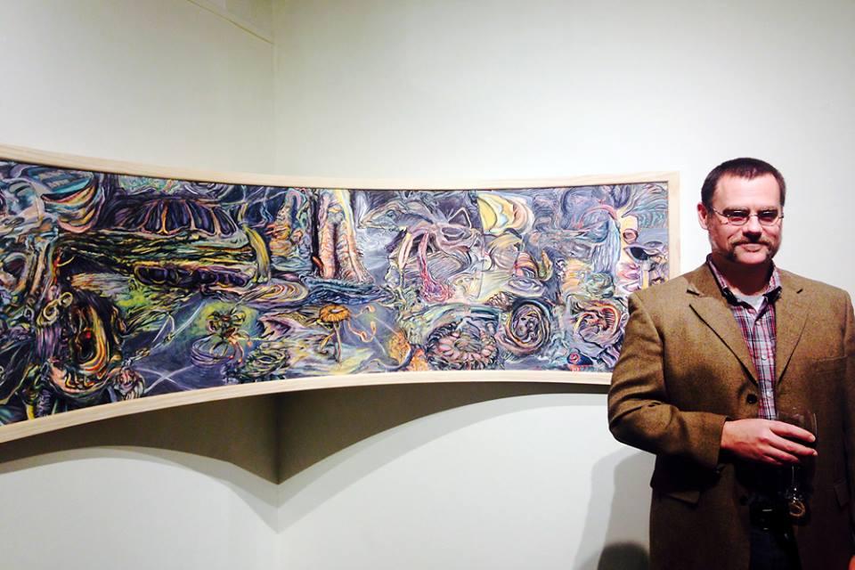 """Abrazo Infinito, charcoal, conte, & acrylic, 28 x 100"""""""