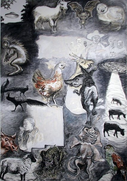 The Many Faces & Tastes of the Goatsucker / El chupacabra y la chupavodka, charcoal, conte & acrylic, 43 x 29""