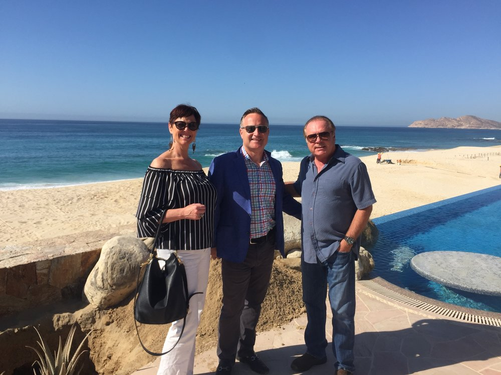 Above (from left): Stephanie McMahon and Dean Jones of RSIR joined Owen Perry, Founder, The Villa Group, to tour one of their fourteen oceanfront resorts, this one currently under construction in Baja Sur, Mexico.