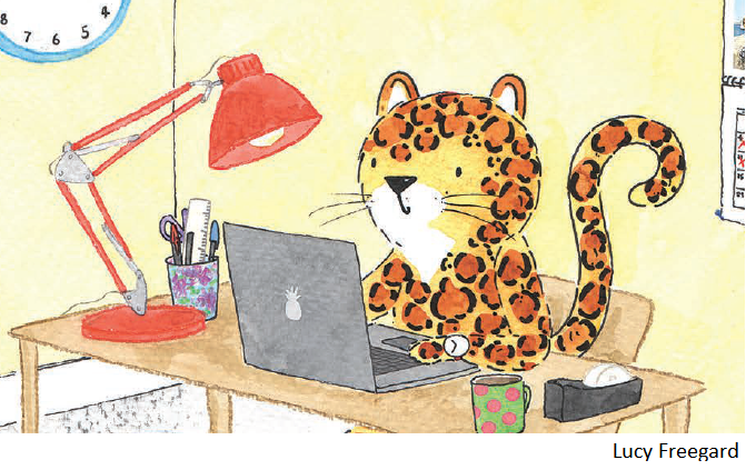 Leopard at desk cropped with caption 12 point.png